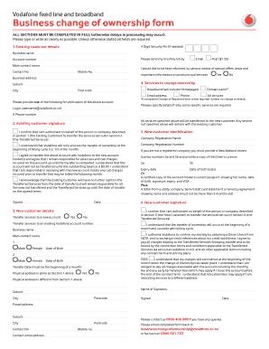 Fillable Online vodafone co Business change of ownership form ...