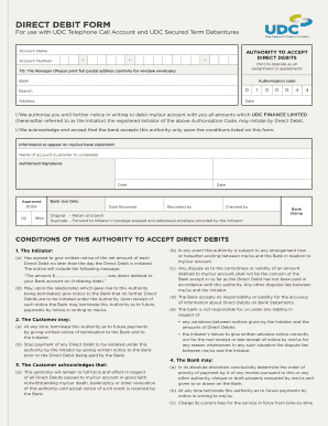 udc direct debit form