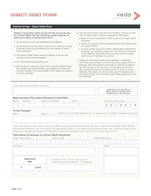 direct debit form template pdf