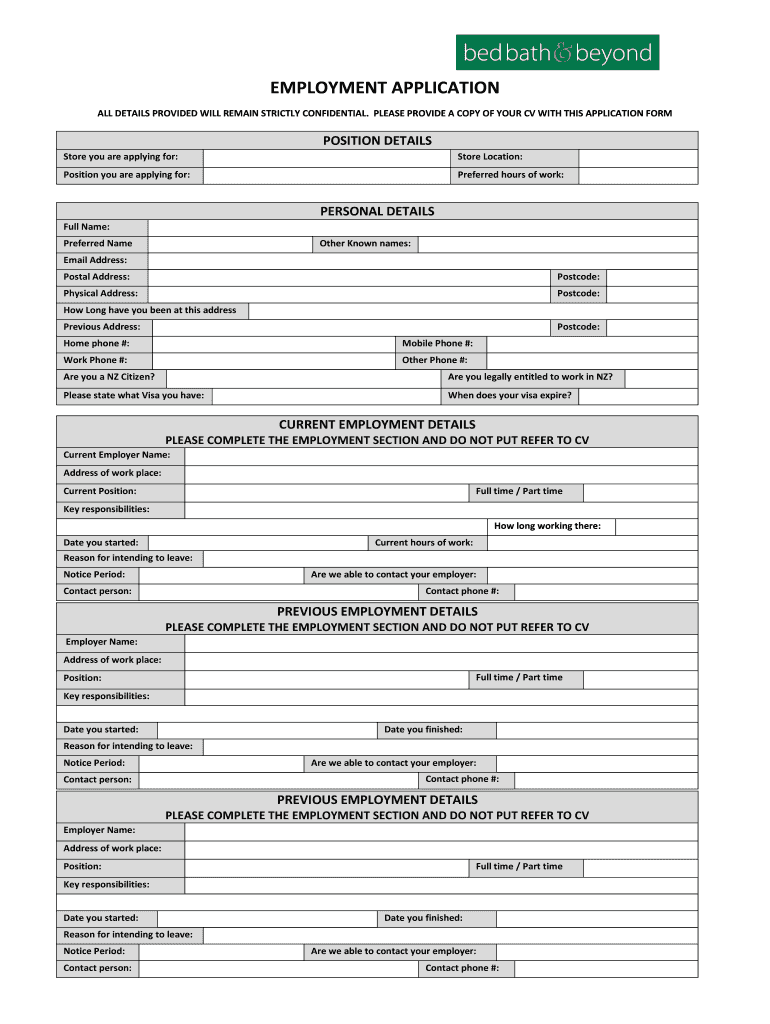 Download Bed Bath and Beyond Job Application Form | PDF ...