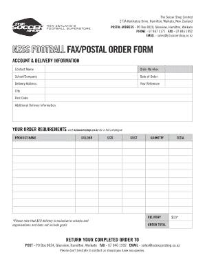 Postal Order Form | Fillable Online Nzsoccershop Co Fax Postal Order Form The Soccer