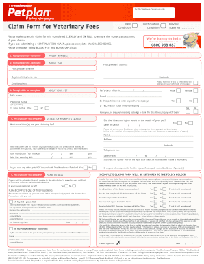 petplan claim form   fill online printable fillable