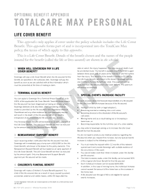 OPTIONAL BENEFIT APPENDIX - nzlife co