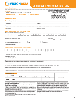 Direct debit authorisation form - Vision Asia Home