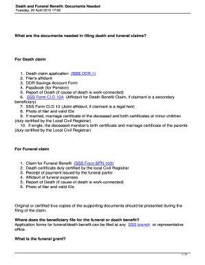 Affidavit For Death Benefit Claim - Fill Online, Printable ...