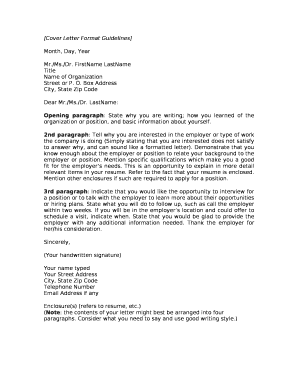 Cover Letter Format Guidelines