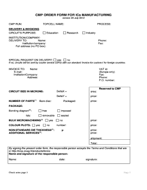 Fillable Online CMP ORDER FORM FOR ICs MANUFACTURING Fax Email ...