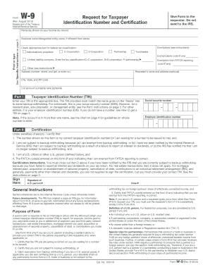 Fillable Online Form W-9 (Request for Taxpayer Identification ...