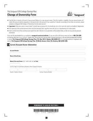 Fillable Online Change of Ownership Form - Vanguard Fax Email ...