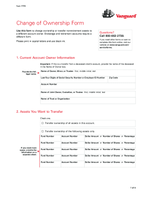 Vanguard Change Of Ownership Form For Transfers Other Than Due To ...