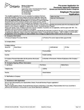 Waterloo Employer Pre Screen Application - Fill Online, Printable ...