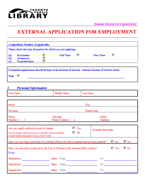 Fillable Toronto Public Library External Application Form - Fill
