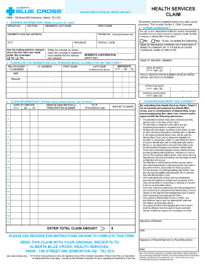 Fillable Online Health Services Claim Form - Alberta Blue Cross ...