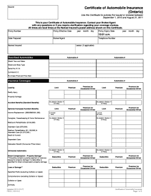 Fillable Online fsco gov on Certificate of Automobile Insurance Ontario. form number 1221E.2