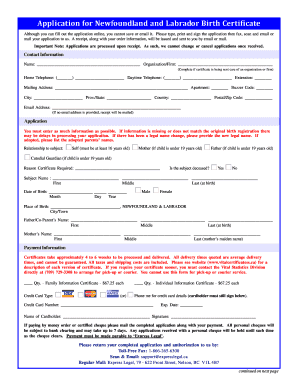 on-line birth certificate application newfoundland
