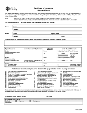 Csio Certificate Insurance Template Form