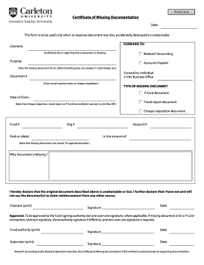 Certificate of Missing Documentation Form