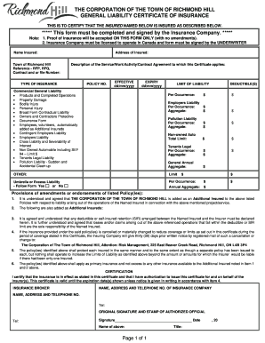 Fillable General Liability Certificate Fill Online