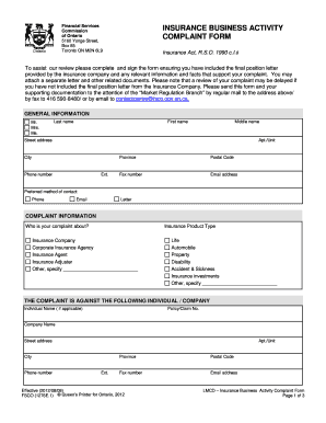 7 Sample Insurance Complaint Forms - Fill Out, Print ...