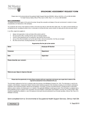 Ergonomic request form fill online printable fillable for Ergonomic assessment template
