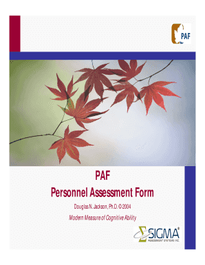 PAF Personnel Assessment Form - Sigma Assessment Systems, Inc.