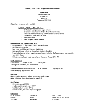 Planning 10 Resume, Cover Letter & Application Form Sample ...