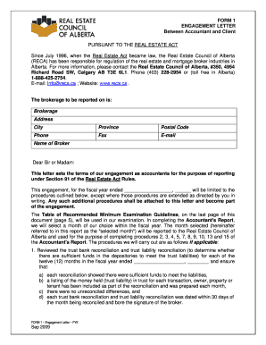 Form 1: Engagement Letter Between Accountant And Client   Reca