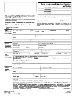 Auto Insurance Standard Invoice OCF-21 Effective (2012-11-01). form number 1208E.1 - fsco gov on