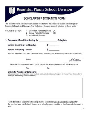 Scholarship Donation Form - Beautiful Plains School Division - bpsd mb