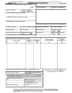 Fillable Form 7525 V 7 18 2003 Shippers Export Declaration - Fill ...