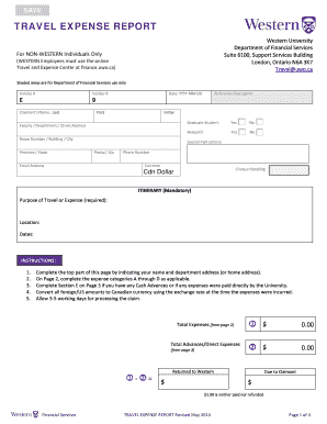 uwo travel form