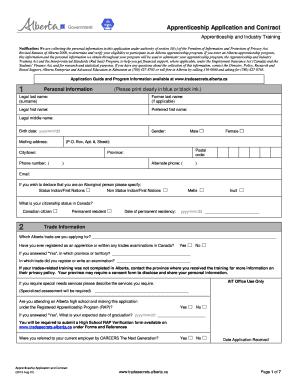 Alberta Apprenticeship Application Contract Form