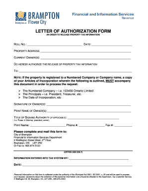 ontario letter of authorization property tax form