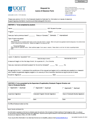 ontario leave of absence form