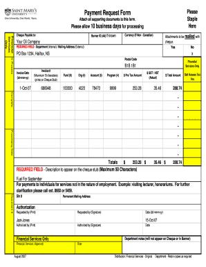 Fillable Online smu Payment request form - Sample 2007-08 - smu ...