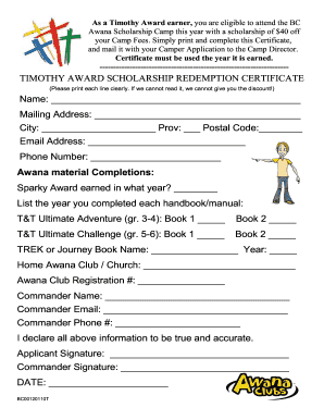 timothy award scholarship form