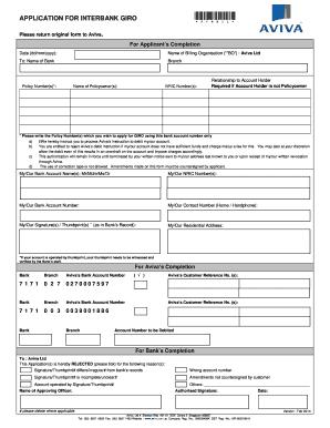 Aviva Hdb Insurance Giro Form - Fill Online, Printable ...