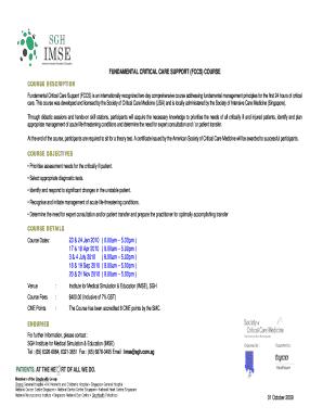 fillable online fundamental critical care support fccs course fax rh pdffiller com