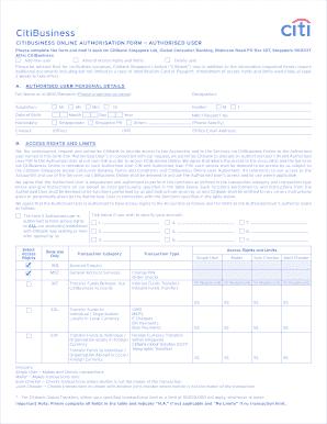 citibusiness online Fillable Online citibank com CitiBusiness Online Authorisation Form ...