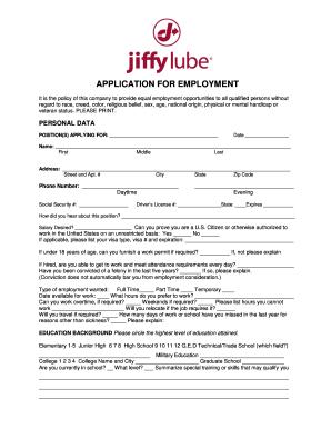 Job Application Online >> Jiffy Lube Job Application Online Fill Online Printable Fillable