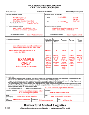 Fillable online nafta certificate 39example39 webftf rate this form yadclub Gallery