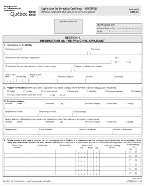 quebec immigration application form for a selection certificate investor