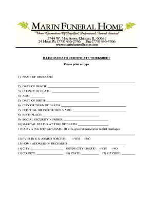 funeral certificate form