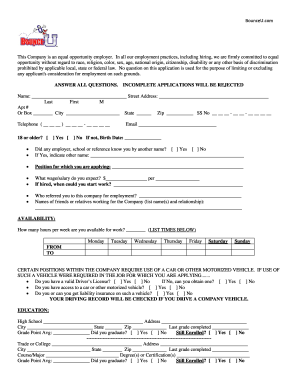Bounceu Application Fill Online Printable Fillable