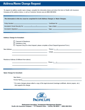 Address change form template
