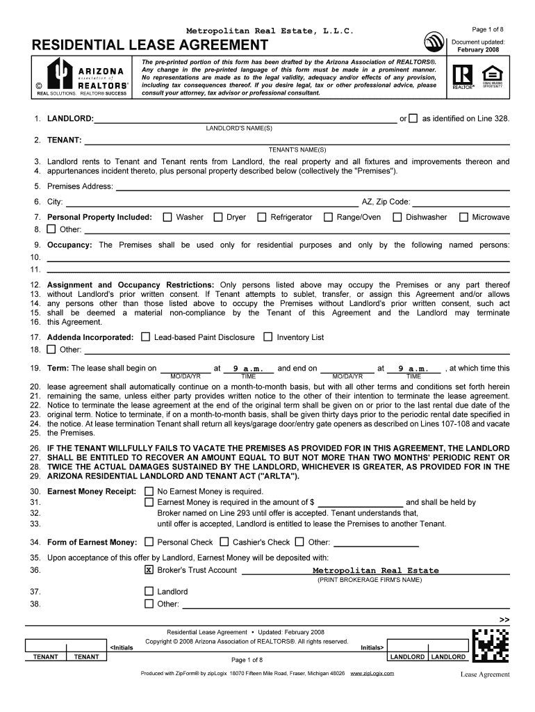 Residential Lease Agreement Pic Fill Online Printable