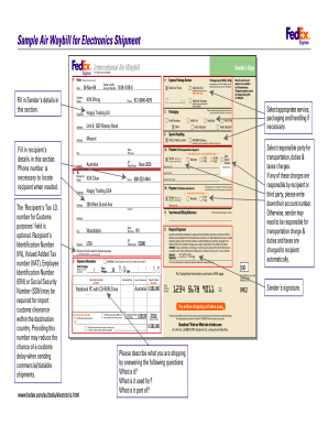 Fedex Air Form Fill Online Printable Fillable Blank