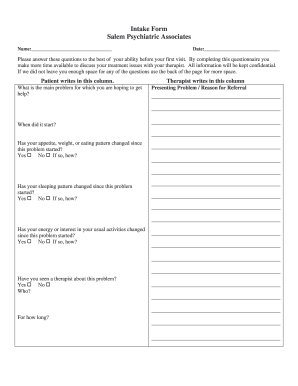 Intake Form Psych - Fill Online, Printable, Fillable, Blank ...