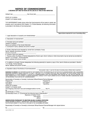 Notice Of Commencement Dade - Fill Online, Printable, Fillable ...