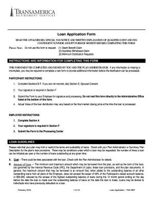 Transamerica Loan Request Form Fill Online Printable Fillable